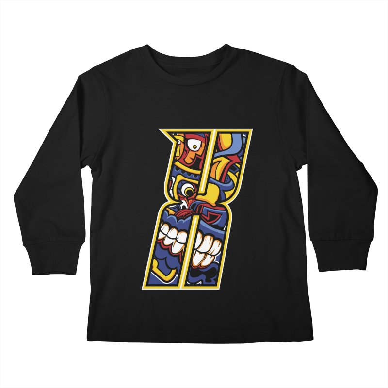 Crazy Face_X004 Kids Longsleeve T-Shirt by Art of Yaky Artist Shop