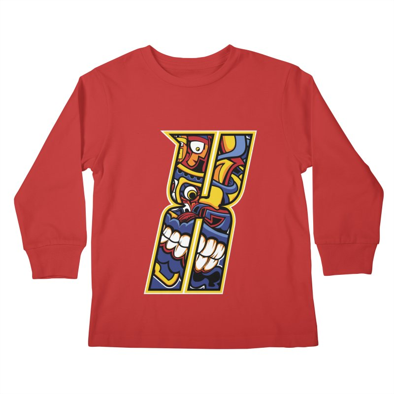 Crazy Face_X004 Kids Longsleeve T-Shirt by Art of Yaky Artist Shop
