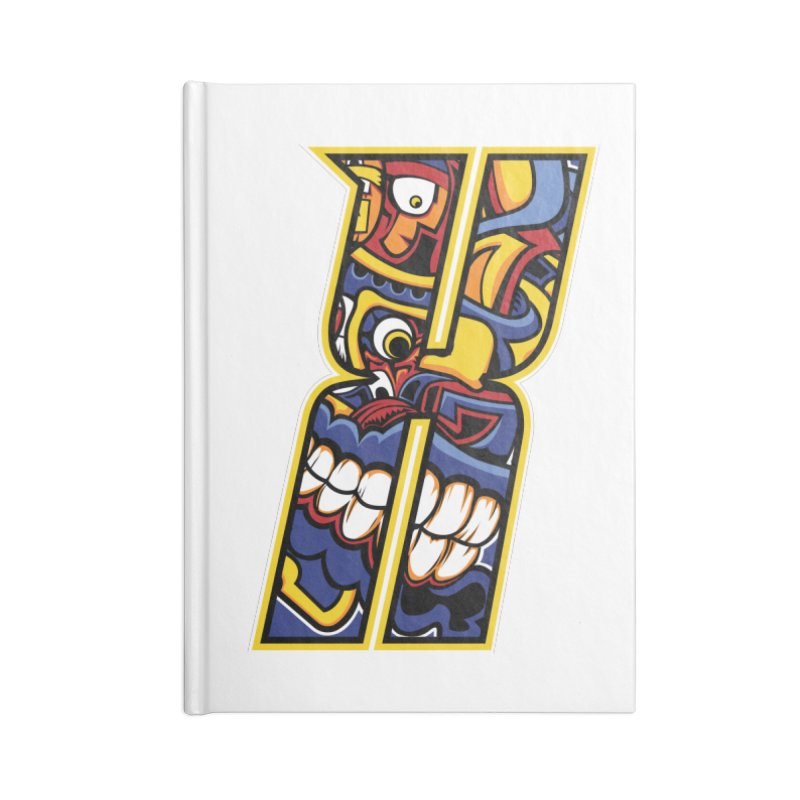 Crazy Face_X004 Accessories Lined Journal Notebook by Art of Yaky Artist Shop