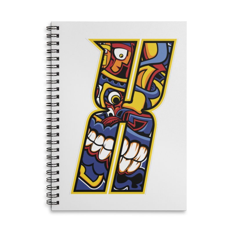 Crazy Face_X004 Accessories Lined Spiral Notebook by Art of Yaky Artist Shop