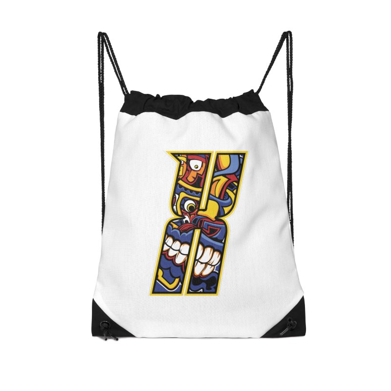 Crazy Face_X004 Accessories Drawstring Bag Bag by Art of Yaky Artist Shop