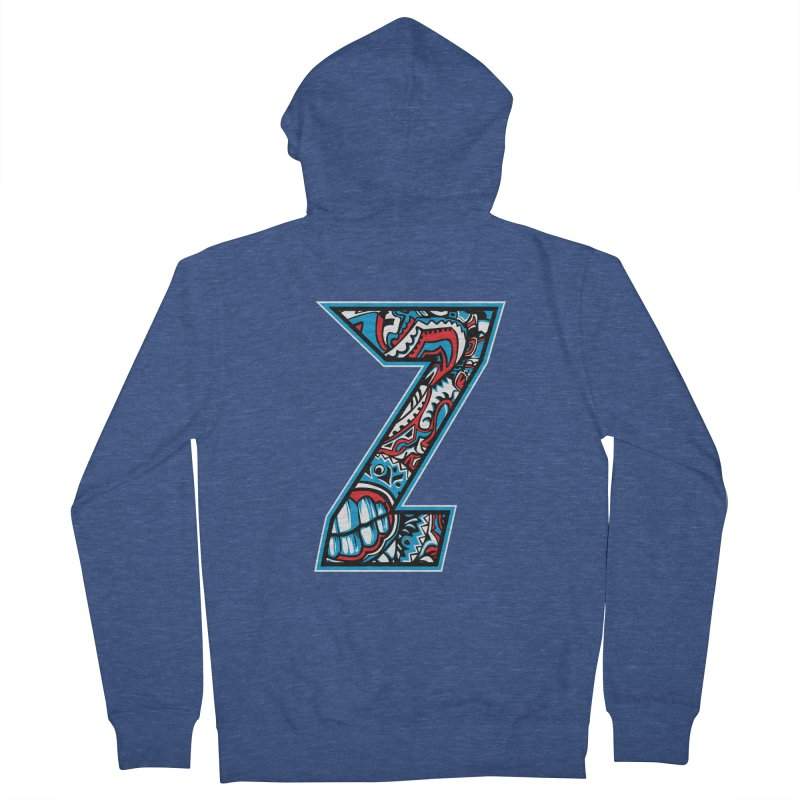 Crazy Face_Z001 Men's French Terry Zip-Up Hoody by Art of Yaky Artist Shop