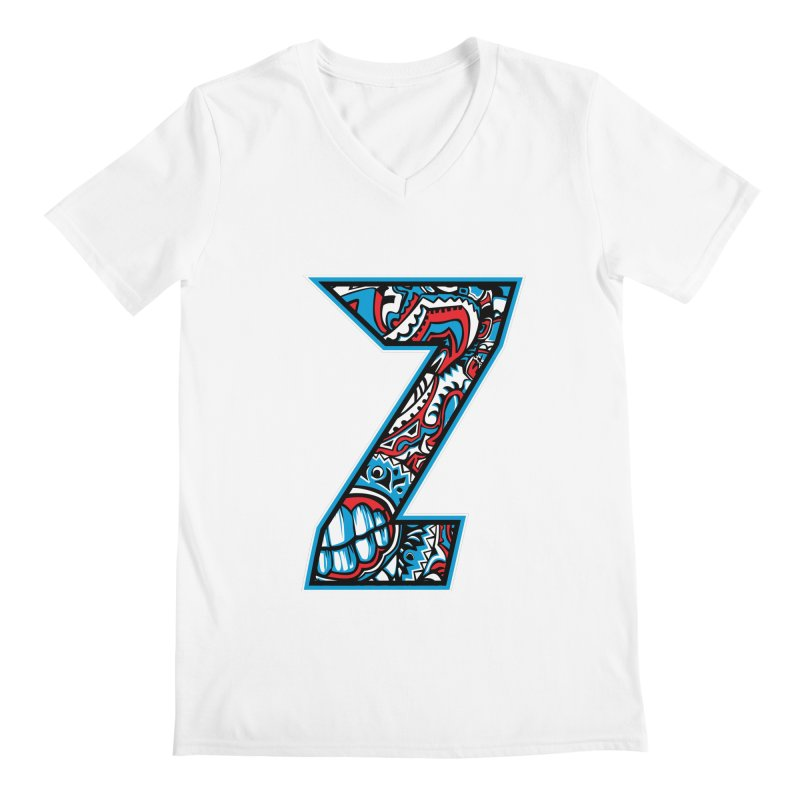 Crazy Face Alphabet (Z) Men's V-Neck by Art of Yaky Artist Shop