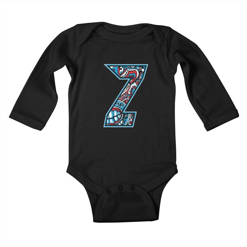 Crazy Face_Z001 Kids Baby Longsleeve Bodysuit by Art of Yaky Artist Shop