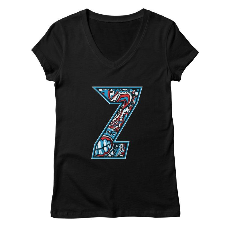Crazy Face Alphabet (Z) Women's V-Neck by Yaky's Customs