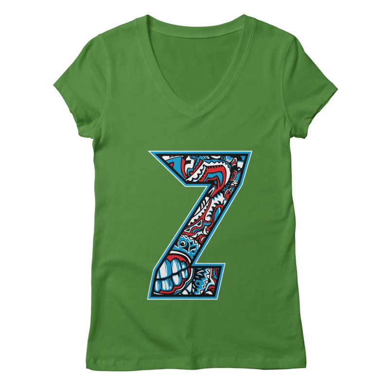 Crazy Face_Z001 Women's Regular V-Neck by Art of Yaky Artist Shop