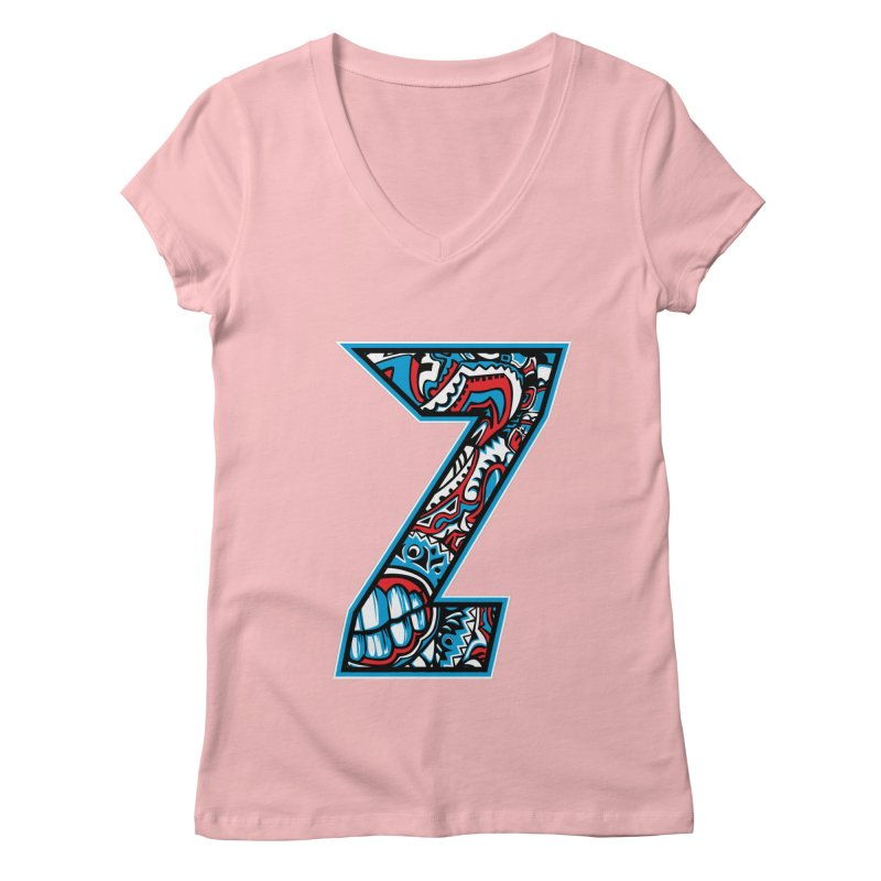 Crazy Face_Z001 Women's V-Neck by Art of Yaky Artist Shop