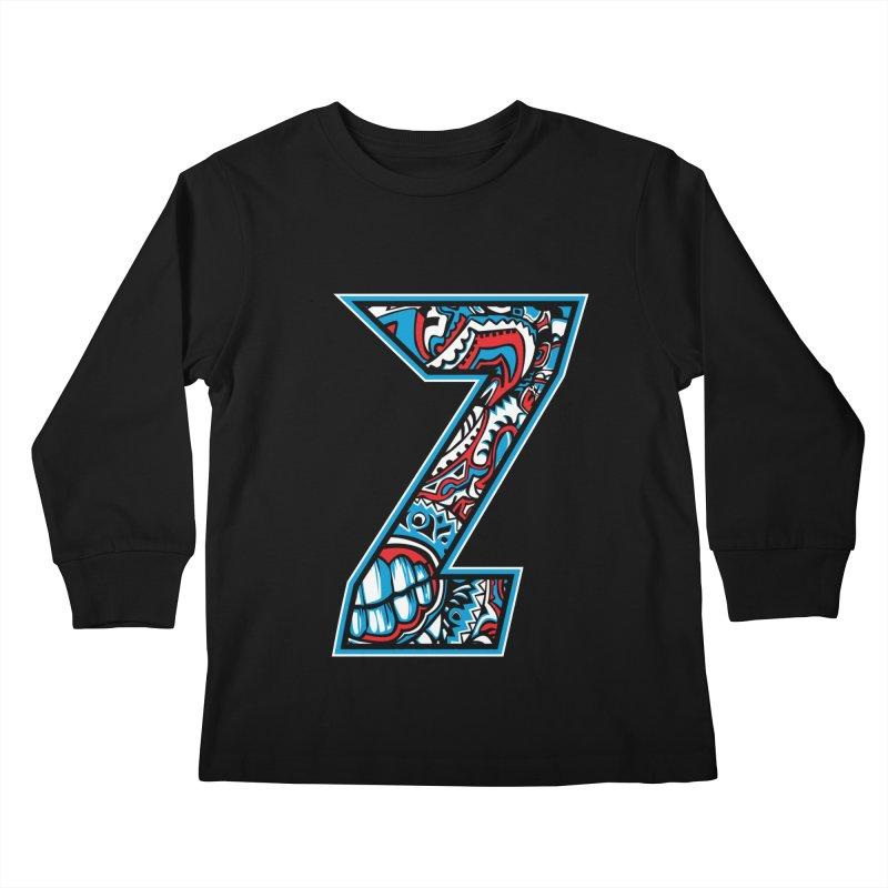 Crazy Face_Z001 Kids Longsleeve T-Shirt by Art of Yaky Artist Shop