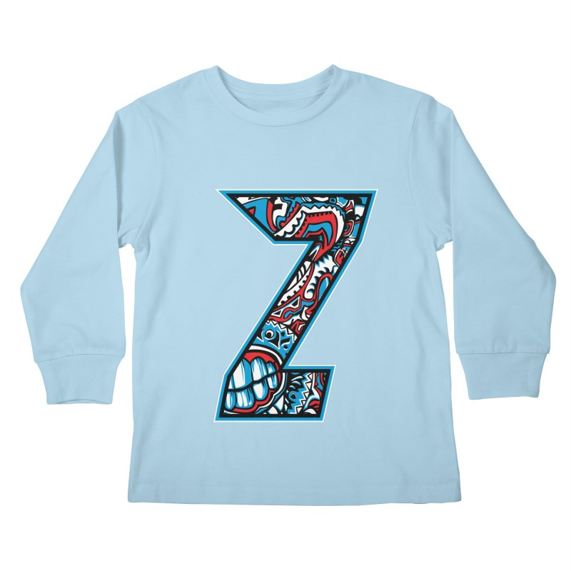Crazy Face_Z001 Kids Longsleeve T-Shirt by Art of Yaky Artist Shop