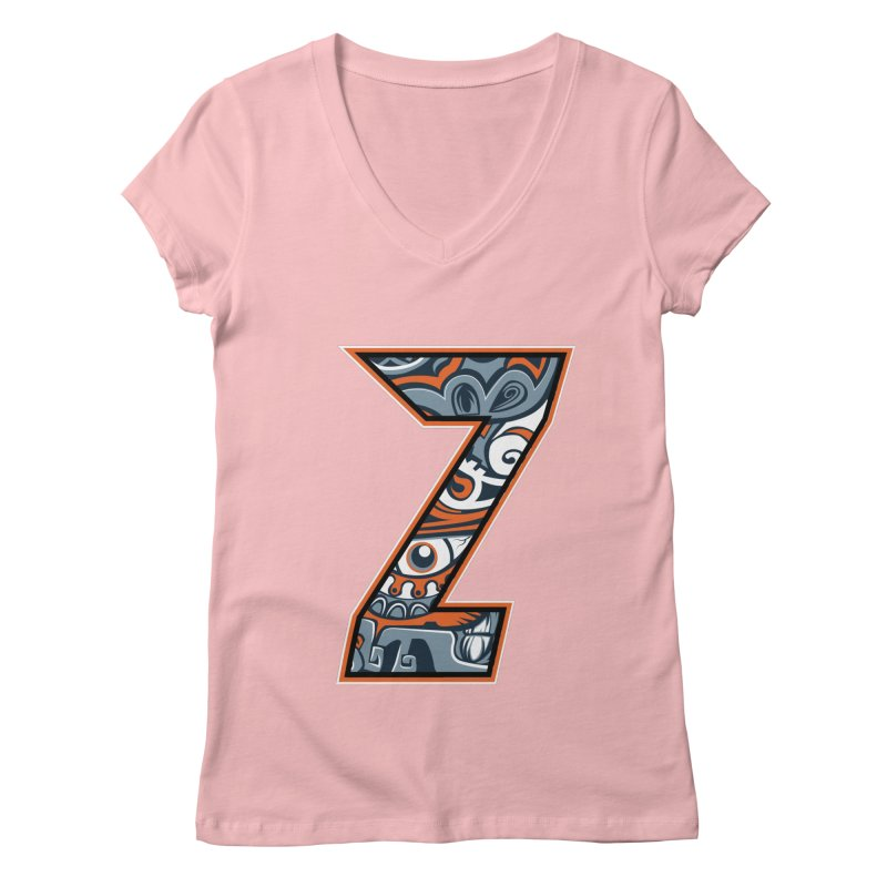 Crazy Face_Z002 Women's V-Neck by Art of Yaky Artist Shop