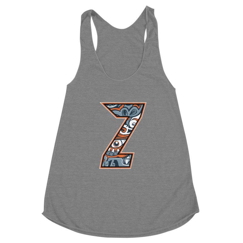 Crazy Face_Z002 Women's Racerback Triblend Tank by Art of Yaky Artist Shop