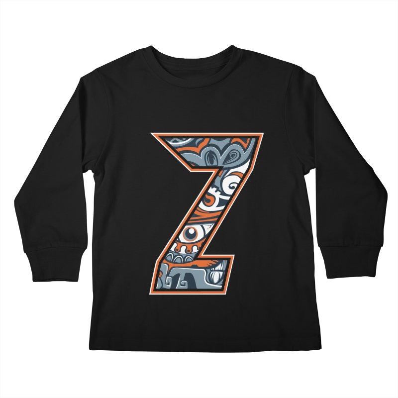 Crazy Face_Z002 Kids Longsleeve T-Shirt by Art of Yaky Artist Shop
