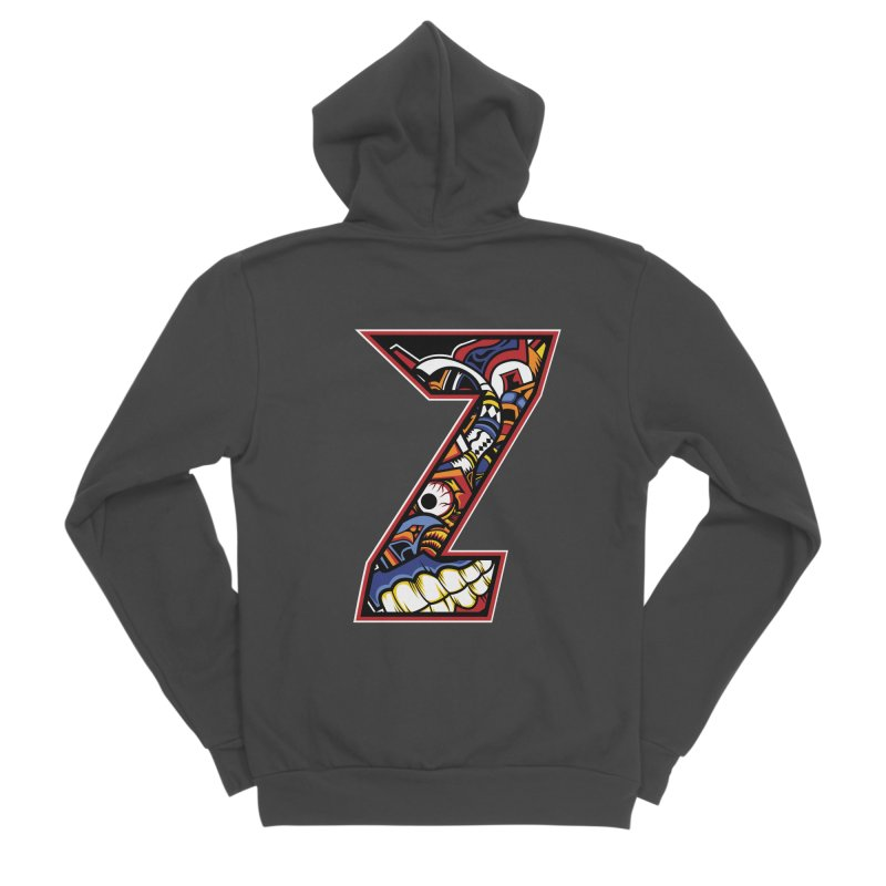 Crazy Face_Z003 Men's Sponge Fleece Zip-Up Hoody by Art of Yaky Artist Shop