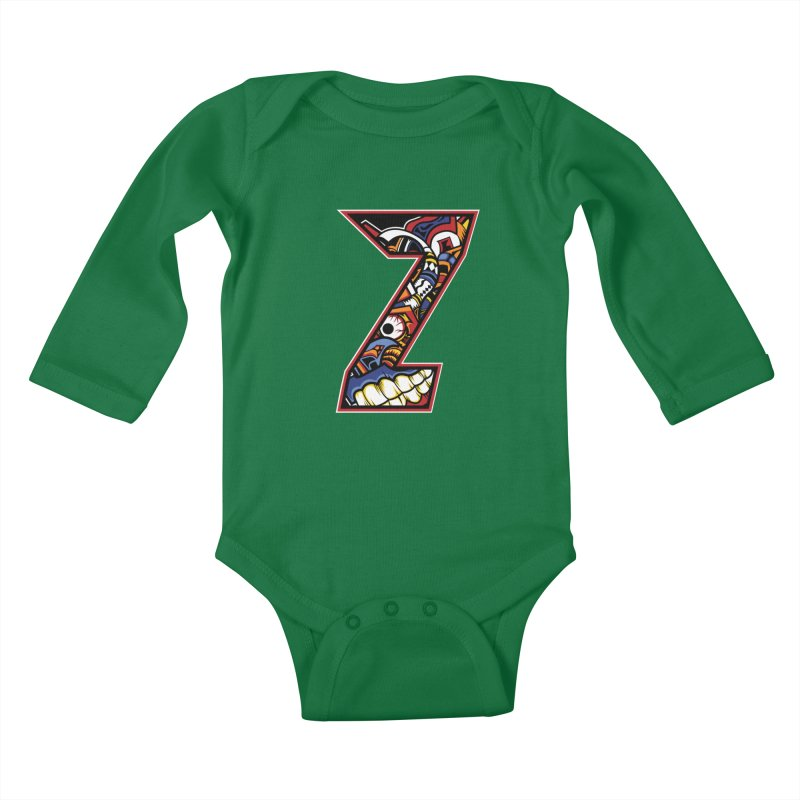 Crazy Face_Z003 Kids Baby Longsleeve Bodysuit by Art of Yaky Artist Shop