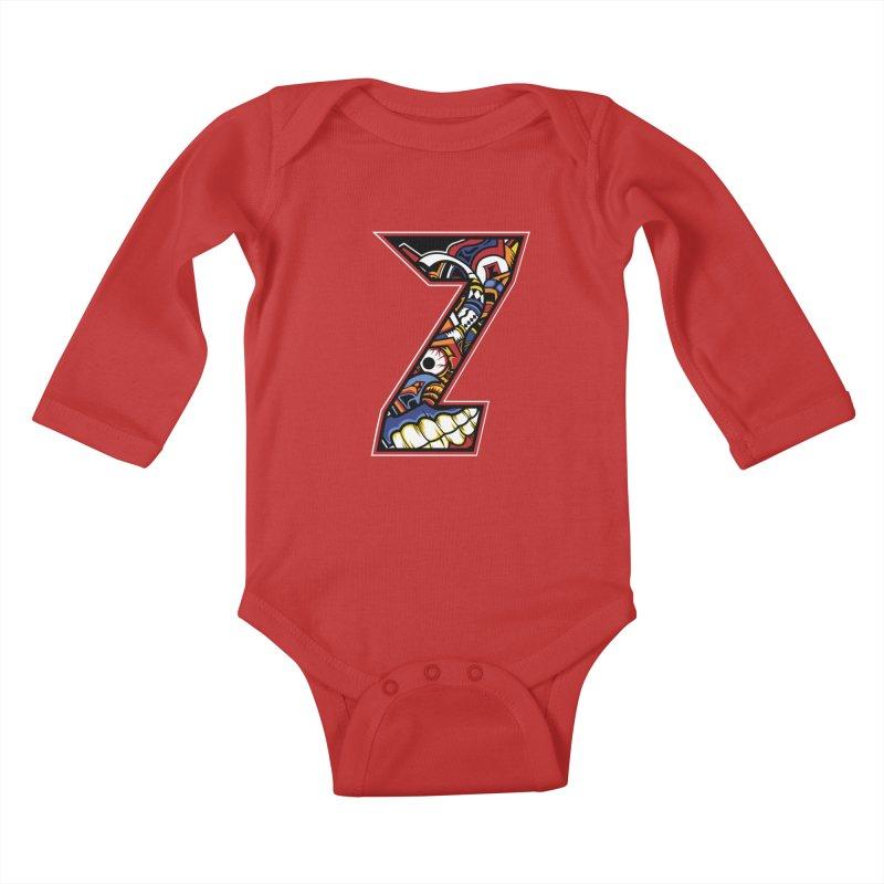 Crazy Face_Z003 Kids Baby Longsleeve Bodysuit by Art of Yaky Artist Shop