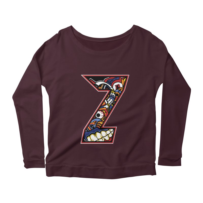 Crazy Face_Z003 Women's Scoop Neck Longsleeve T-Shirt by Art of Yaky Artist Shop
