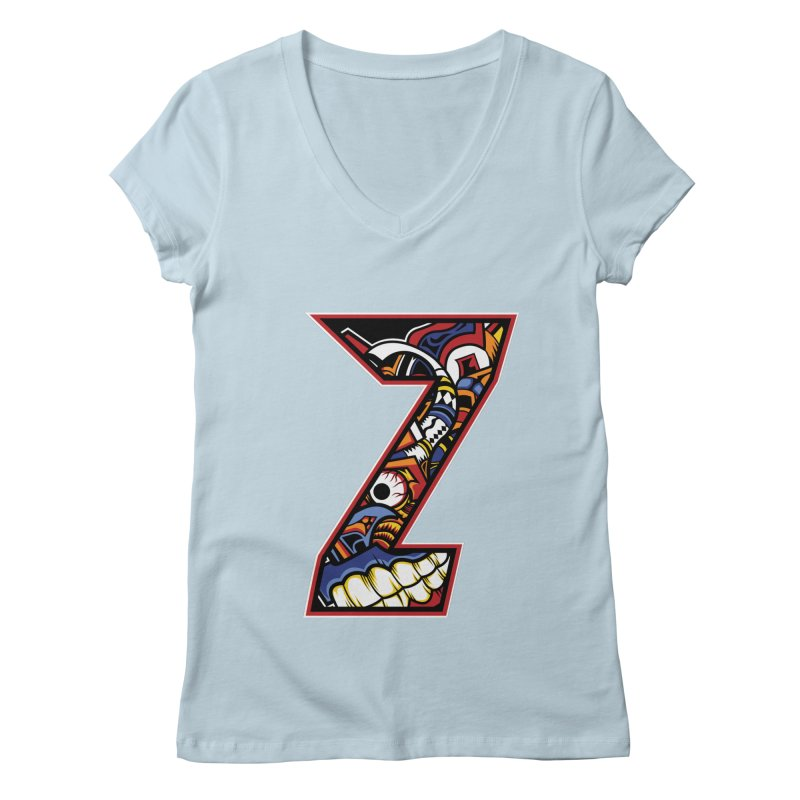 Crazy Face_Z003 Women's Regular V-Neck by Art of Yaky Artist Shop