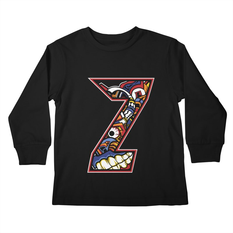 Crazy Face_Z003 Kids Longsleeve T-Shirt by Art of Yaky Artist Shop