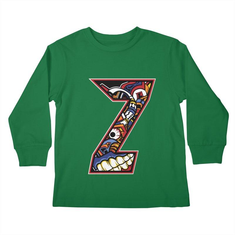 Crazy Face_Z003 Kids Longsleeve T-Shirt by Art of Yaky Artist Shop