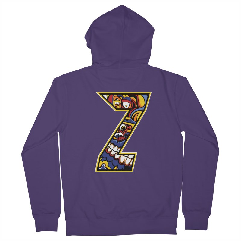 Crazy Face_Z004 Women's French Terry Zip-Up Hoody by Art of Yaky Artist Shop
