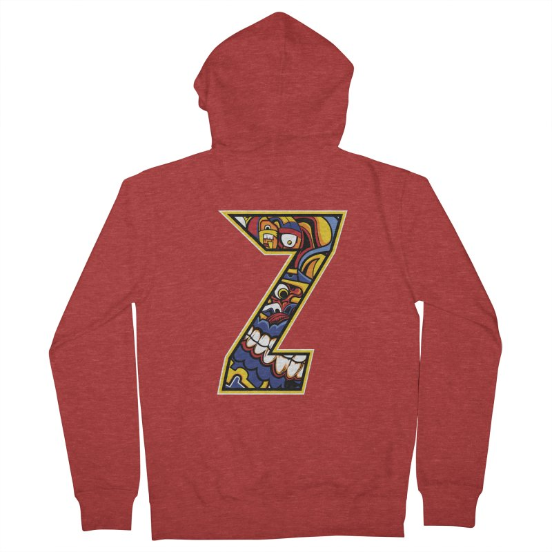 Crazy Face_Z004 Men's French Terry Zip-Up Hoody by Art of Yaky Artist Shop