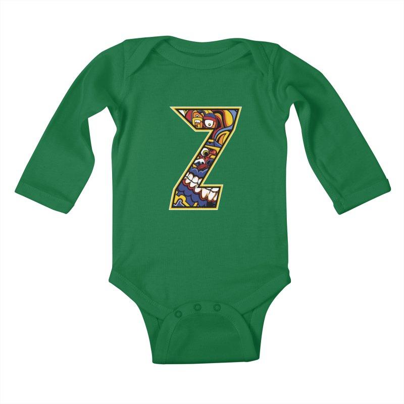 Crazy Face_Z004 Kids Baby Longsleeve Bodysuit by Art of Yaky Artist Shop