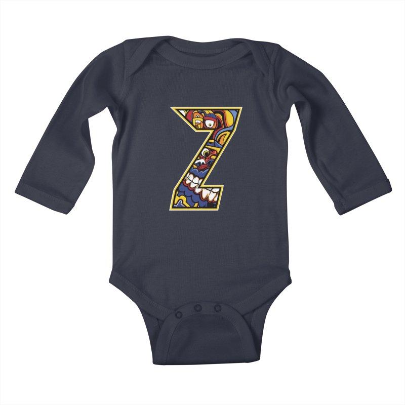 Crazy Face Aplphabet (Z) Kids Baby Longsleeve Bodysuit by Yaky's Customs
