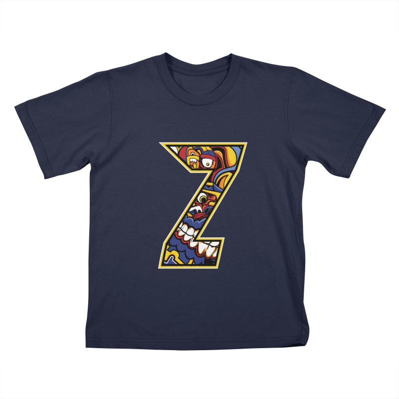 Crazy Face Aplphabet (Z) Kids T-Shirt by Yaky's Customs