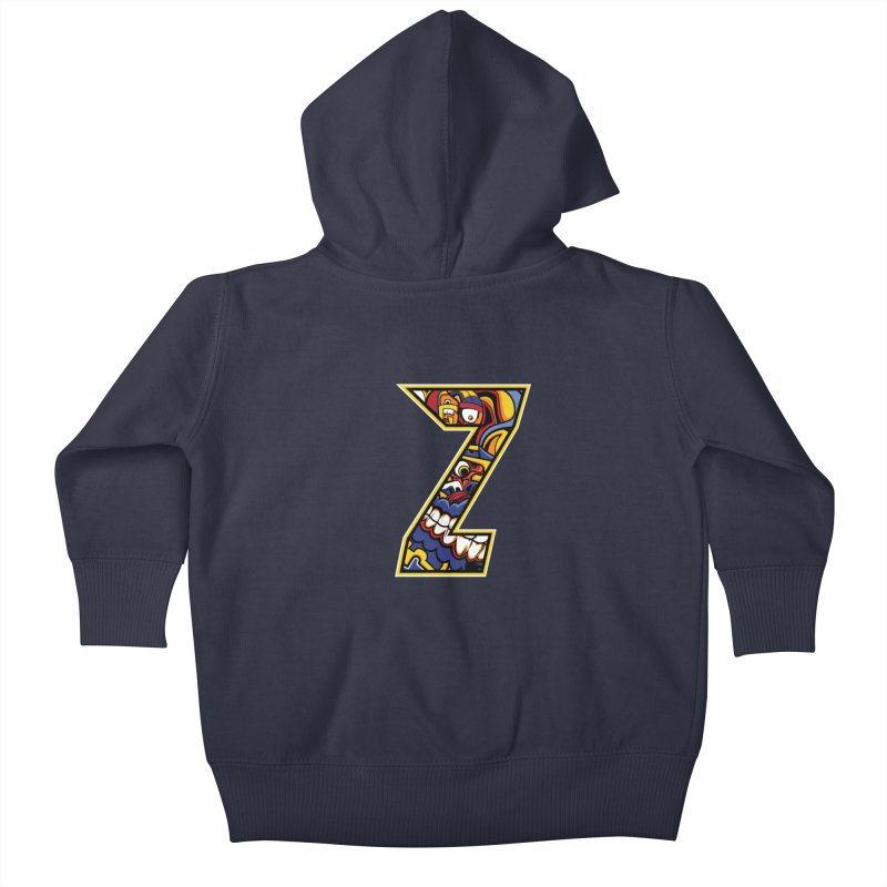 Crazy Face_Z004 Kids Baby Zip-Up Hoody by Art of Yaky Artist Shop