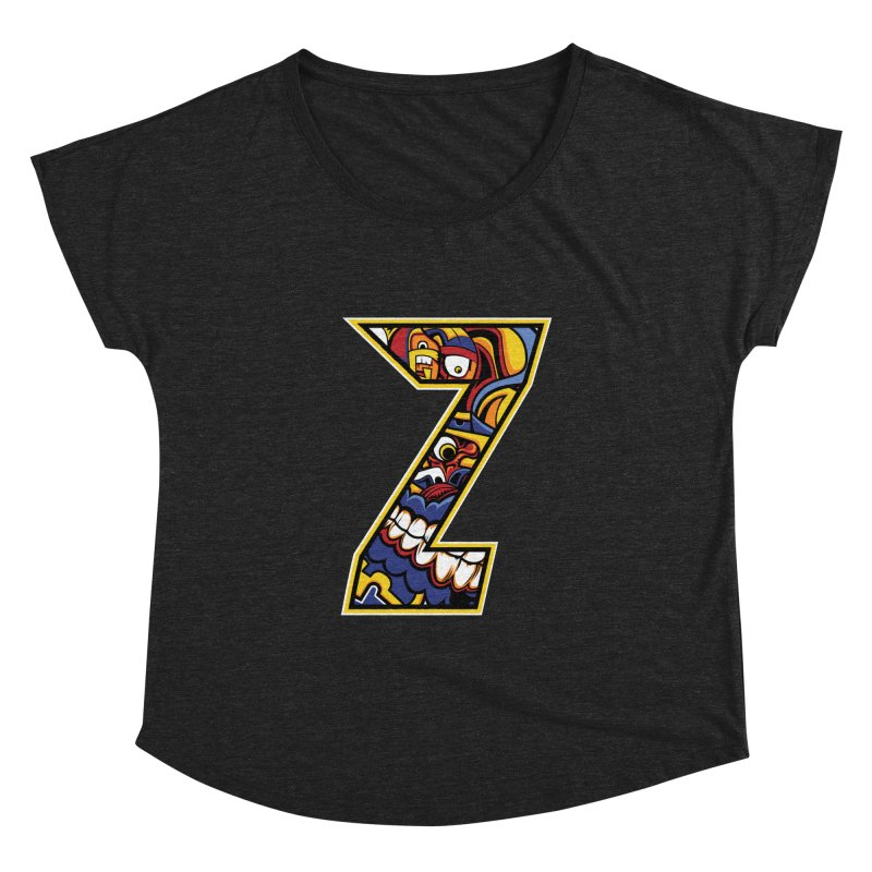 Crazy Face_Z004 Women's Dolman Scoop Neck by Art of Yaky Artist Shop