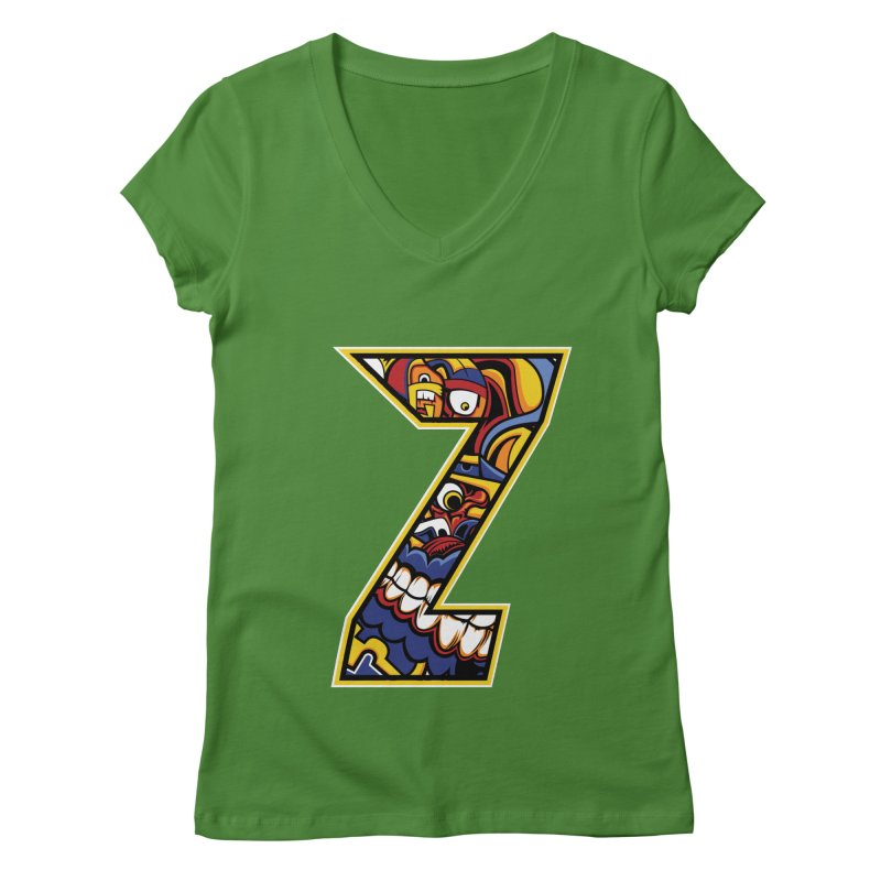 Crazy Face_Z004 Women's Regular V-Neck by Art of Yaky Artist Shop