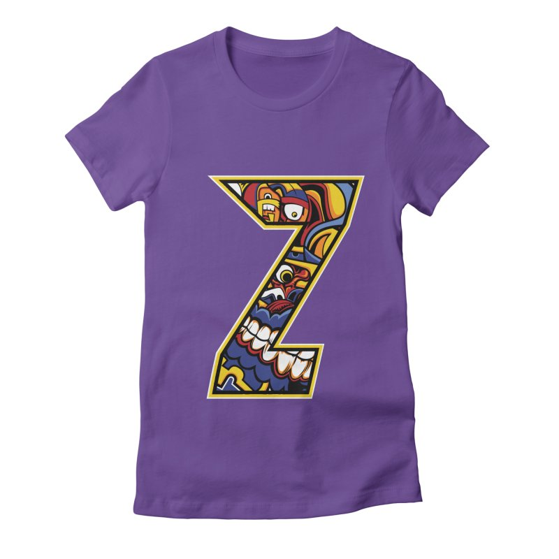 Crazy Face_Z004 Women's Fitted T-Shirt by Art of Yaky Artist Shop