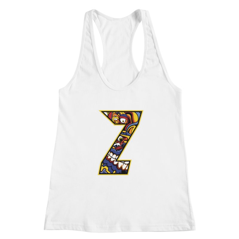Crazy Face_Z004 Women's Racerback Tank by Art of Yaky Artist Shop