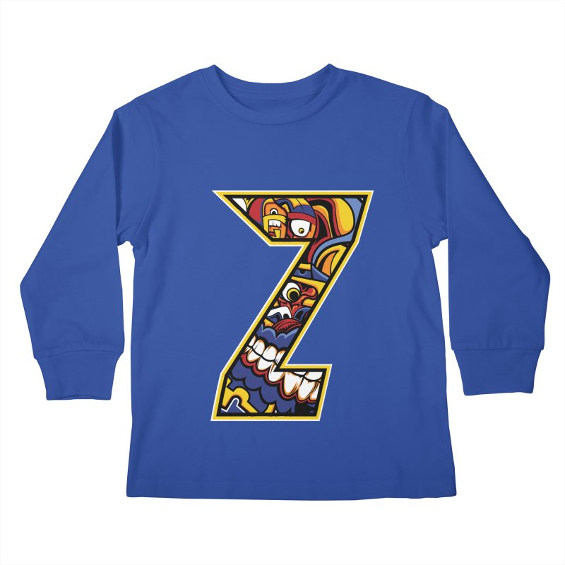 Crazy Face_Z004 Kids Longsleeve T-Shirt by Art of Yaky Artist Shop