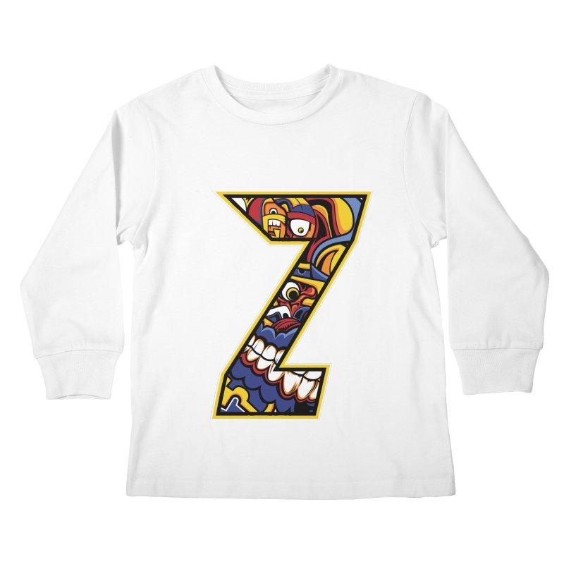 Crazy Face_Z004 Kids Longsleeve T-Shirt by Art of Yaky Artist Shop