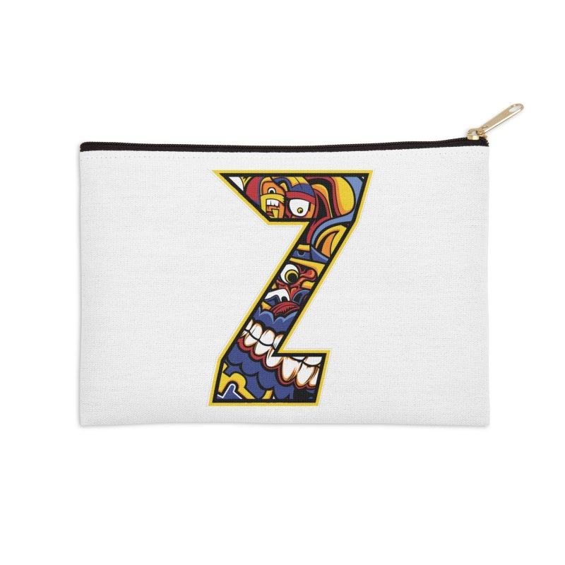 Crazy Face_Z004 Accessories Zip Pouch by Art of Yaky Artist Shop