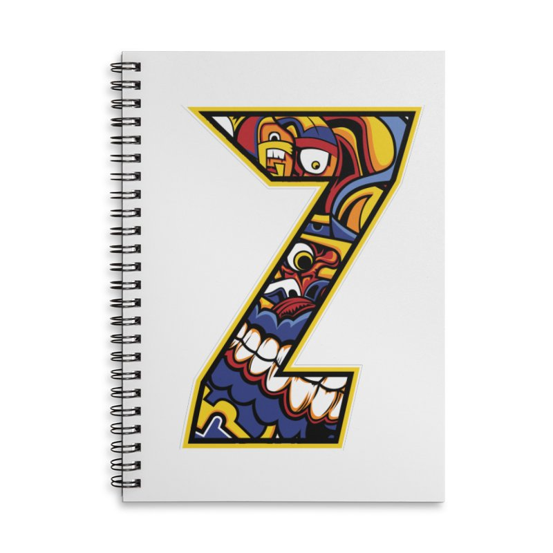 Crazy Face_Z004 Accessories Lined Spiral Notebook by Art of Yaky Artist Shop