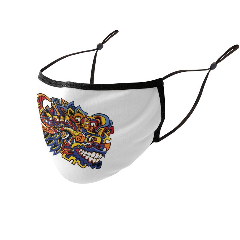 Indigenous Faces_Aztec Warrior Accessories Face Mask by Yaky's Customs