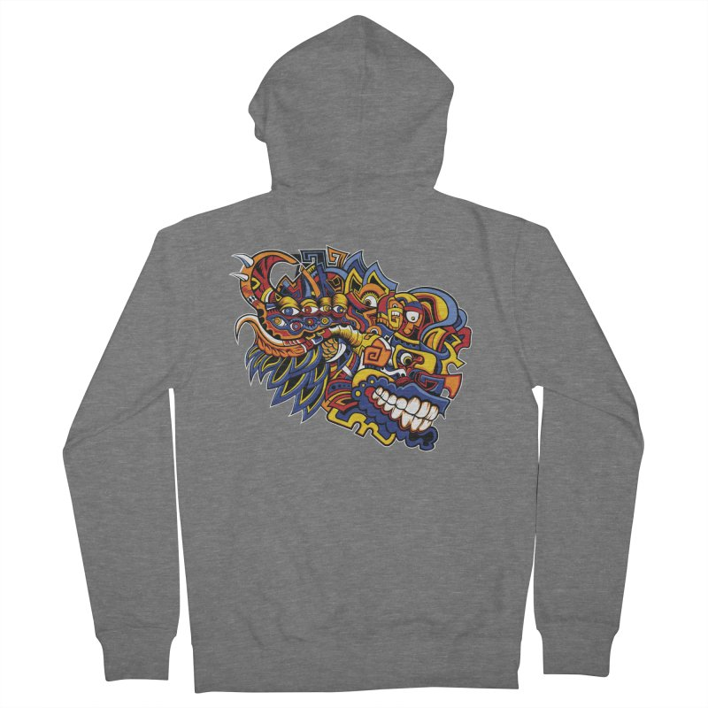 Indigenous Faces_Aztec Warrior Men's Zip-Up Hoody by Art of Yaky Artist Shop