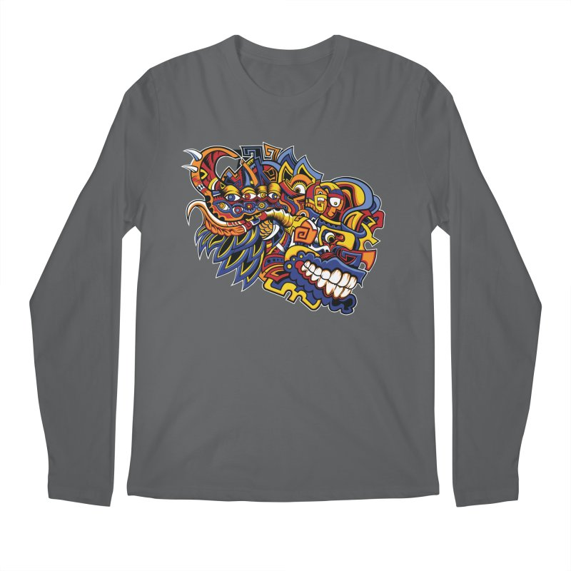 Indigenous Faces_Aztec Warrior Men's Longsleeve T-Shirt by Yaky's Customs