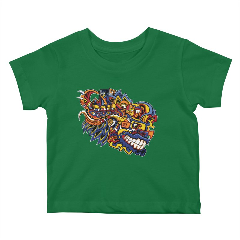Indigenous Faces_Aztec Warrior Kids Baby T-Shirt by Yaky's Customs