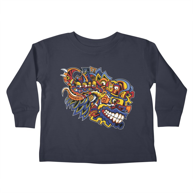 Indigenous Faces_Aztec Warrior Kids Toddler Longsleeve T-Shirt by Yaky's Customs