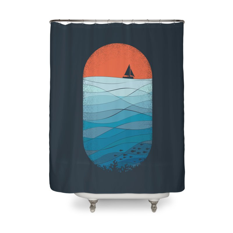 Le grand bleu (The big blue) Home Shower Curtain by YANMOS