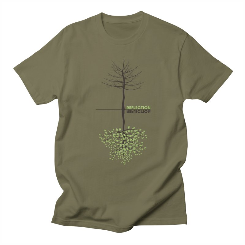 Reflection tree in Men's Regular T-Shirt Olive by YANMOS
