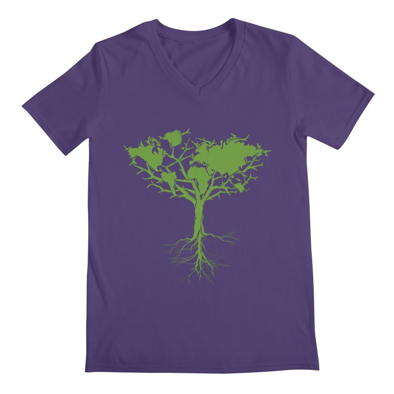Earth Tree Men's V-Neck by Yanmos's Artist Shop