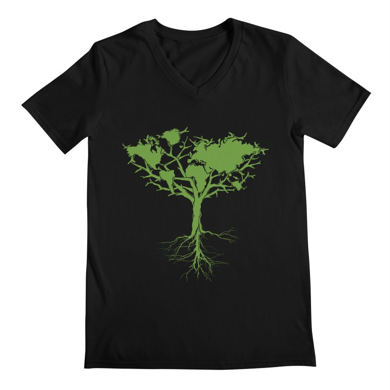 Earth Tree Men's V-Neck by Yanmos's Artist Shop