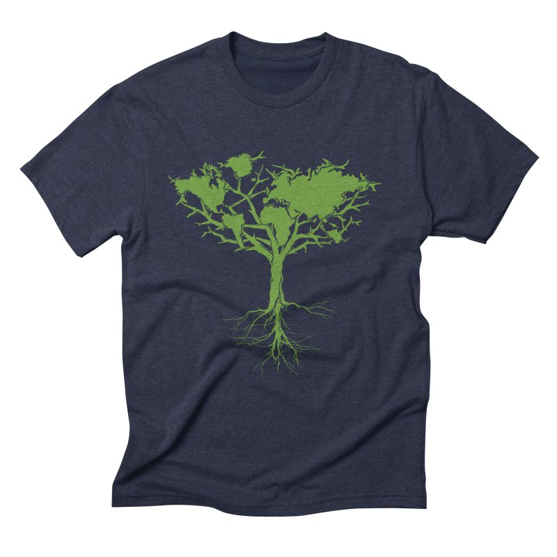 Earth Tree in Men's Triblend T-shirt Navy by Yanmos's Artist Shop