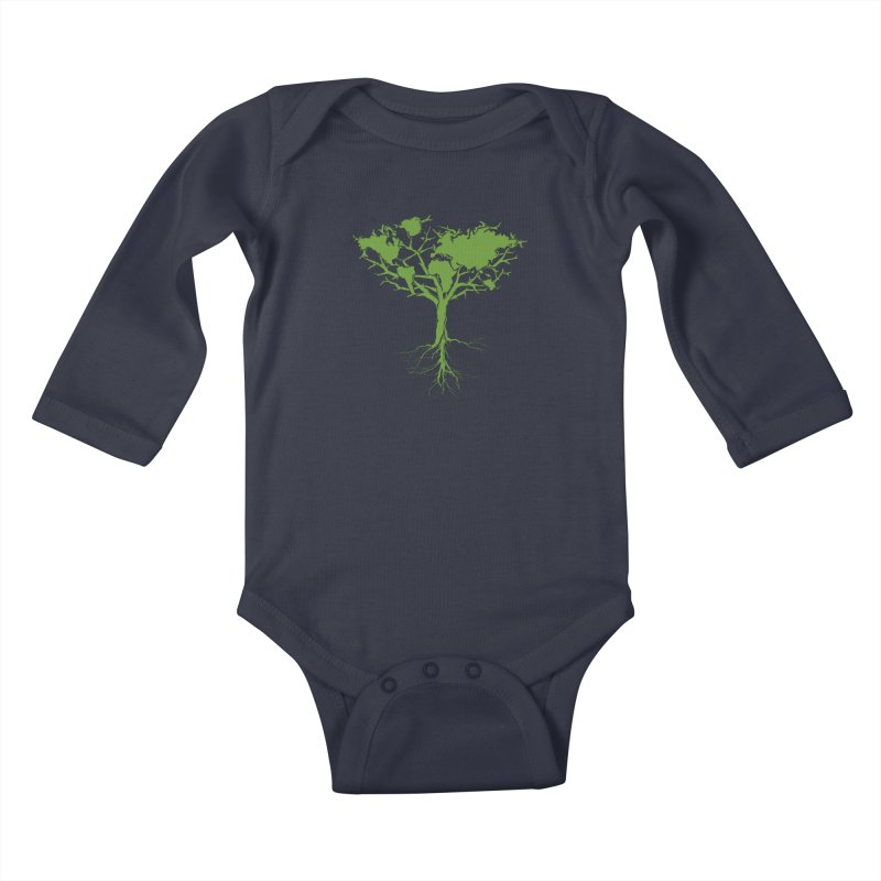 Earth Tree Kids Baby Longsleeve Bodysuit by Yanmos's Artist Shop