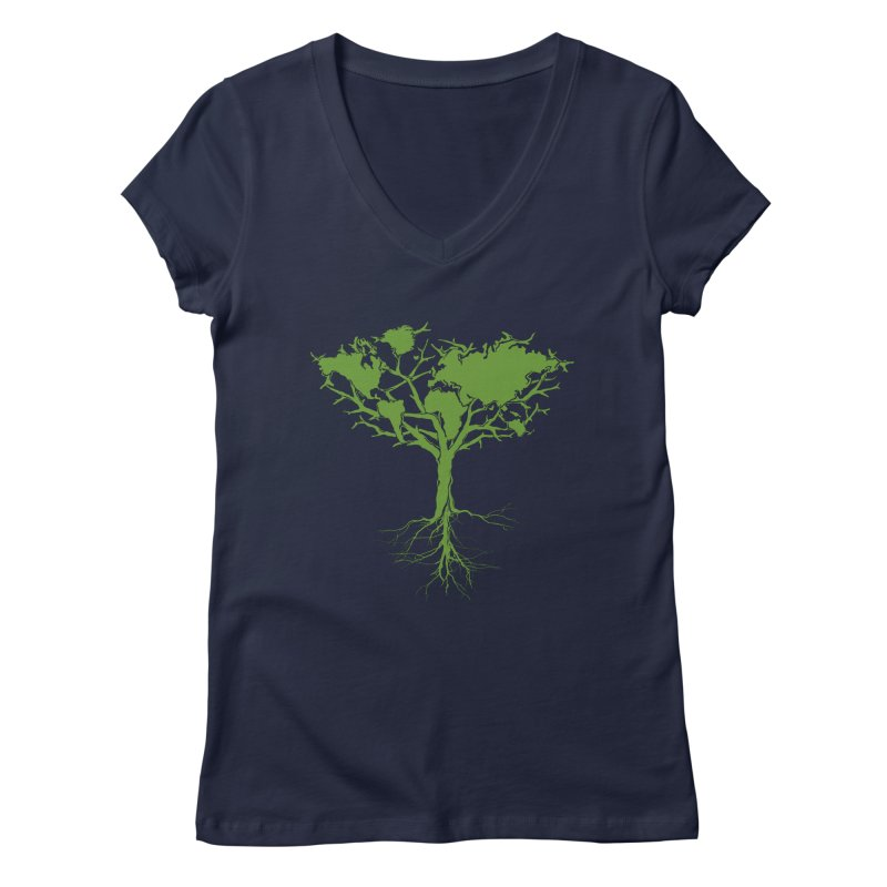 Earth Tree Women's V-Neck by Yanmos's Artist Shop