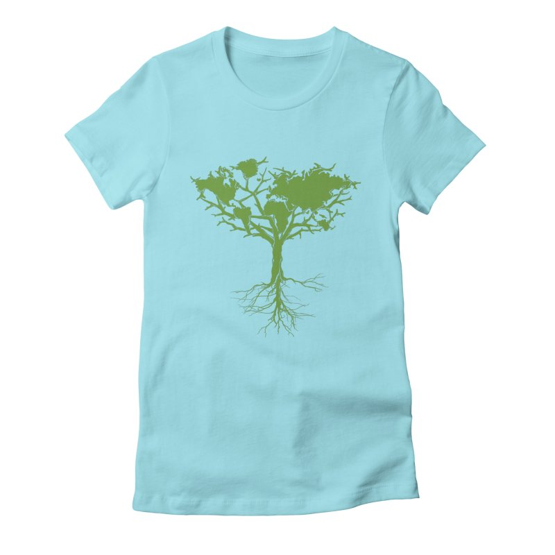 Earth Tree Women's Fitted T-Shirt by Yanmos's Artist Shop